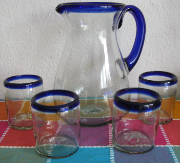 Pitcher with 4 Blue Rim Glases